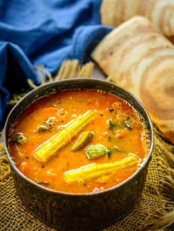 Sambar served in a bowl.