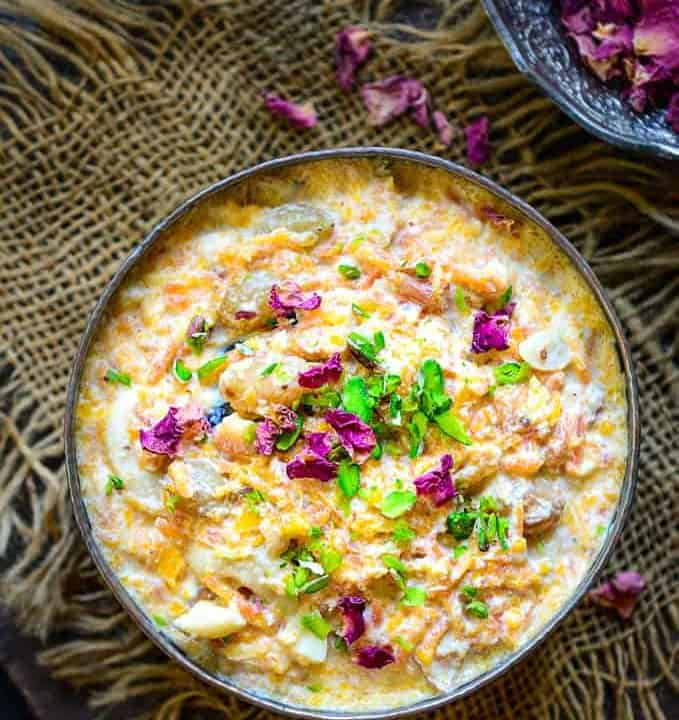 Carrot Kheer served in a bowl.