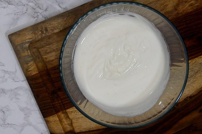 Whisked yogurt.