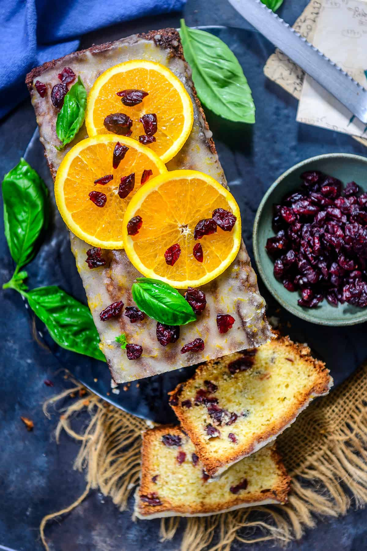 Cranberry Orange Bread served on a plate.