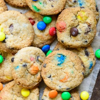 M&M Cookies served on a plate.