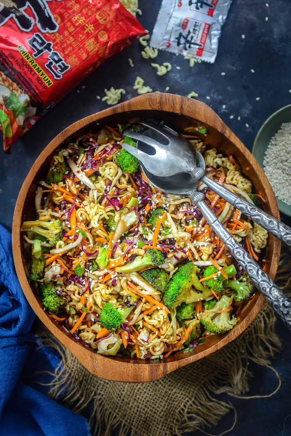 Ramen Noodle salad served in a bowl.