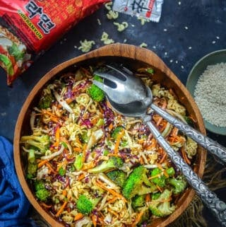 Oriental Ramen Noodle Salad served in a bowl.