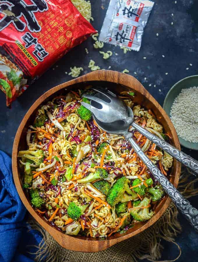 Oriental Ramen Noodle Salad served in a bowl.