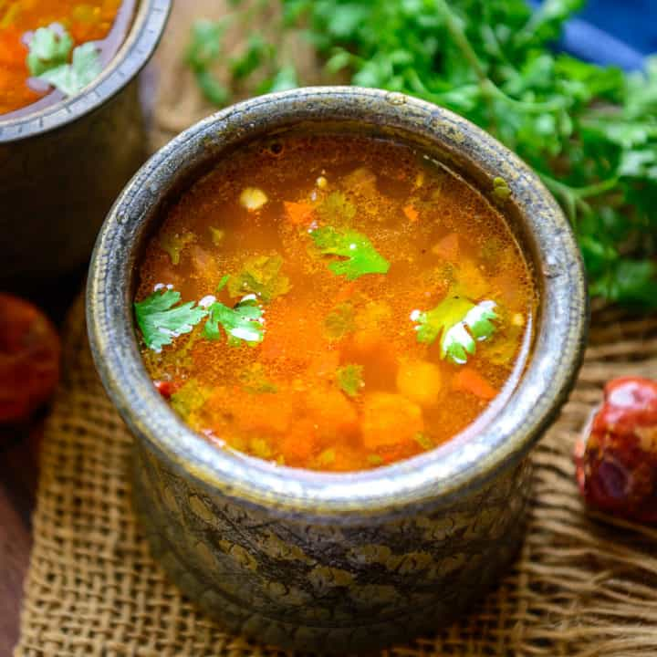 Rasam is a South Indian dish that is tangy and spicy and can be either served as a soup or paired with rice for the main course. There are many varieties of this dish made in different regions of south India. Here is how to make it.