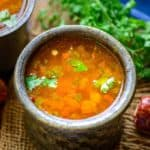 Rasam is a South Indian dish which is tangy and spicy and can be either served as soup or paired with rice for main course. There are many variety of rasam made in different regions of south India. Here is how to make Tomato Rasam Recipe.