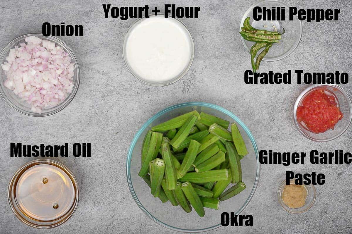 Achari bhindi ingredients.