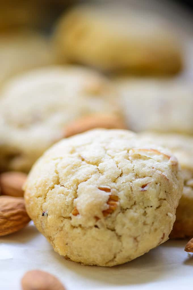 Close up shot of almond cookies recipe.