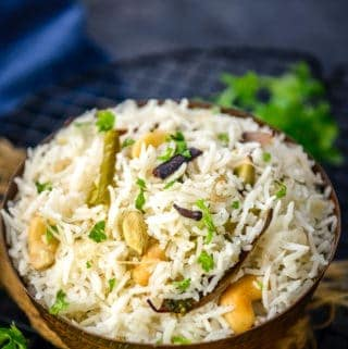 Hyderabadi Bagara Rice served in a bowl.