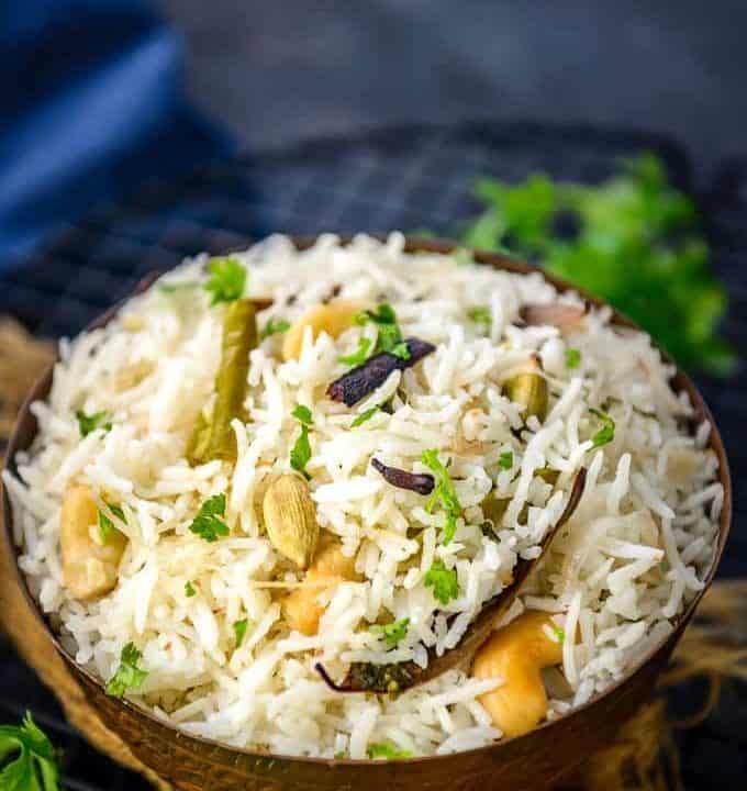 Hyderabadi Bagara Rice served in a bowl.