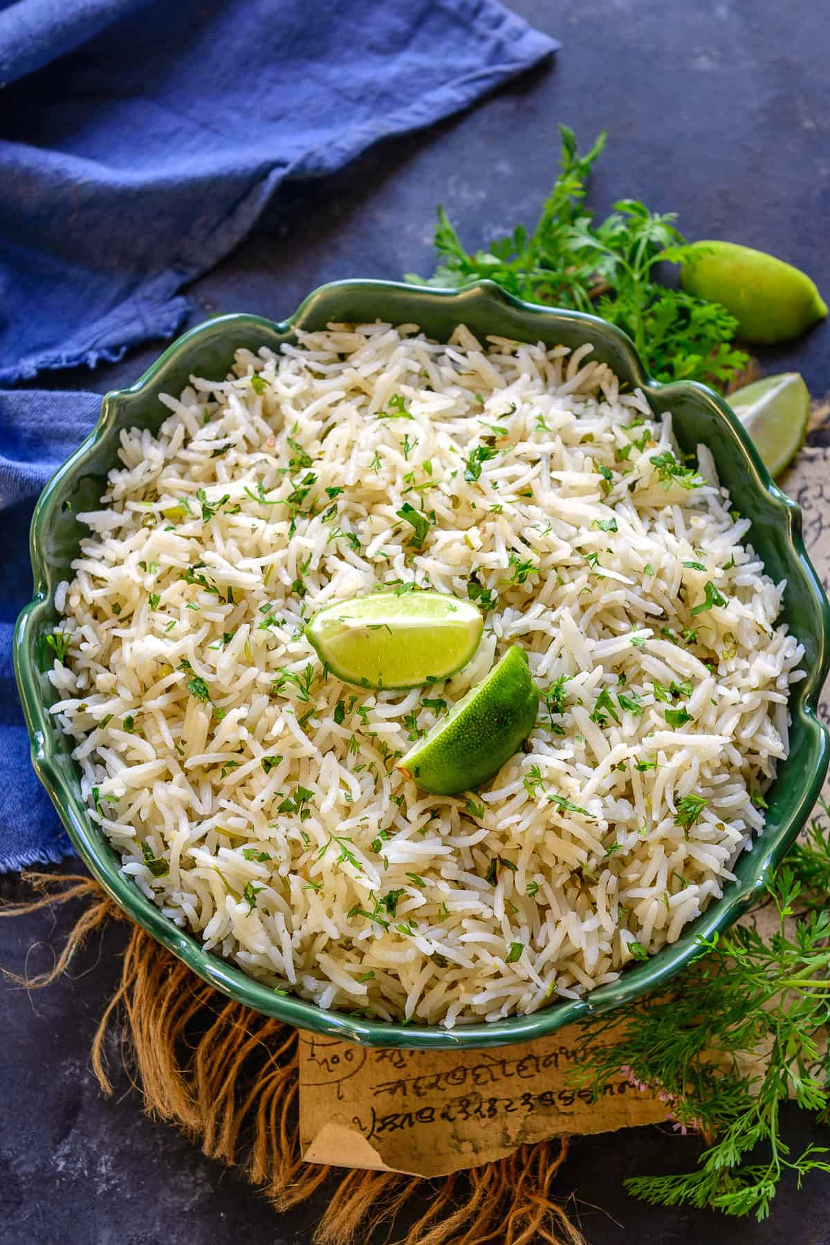 Cilantro lime Rice served in a bowl.