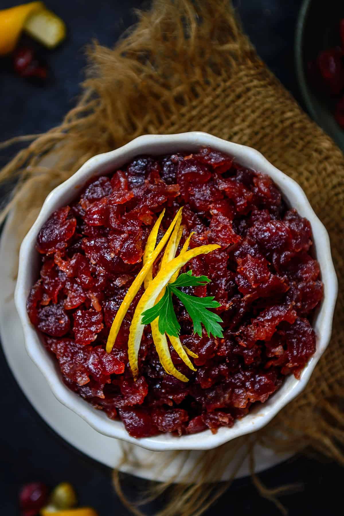 Cranberry Chutney served in a bowl.