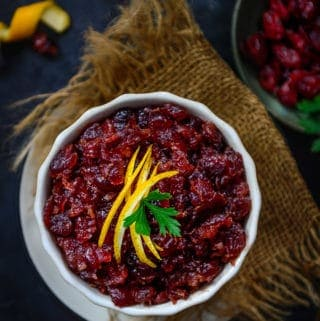 Spicy Bourbon Cranberry Chutney served in a bowl.