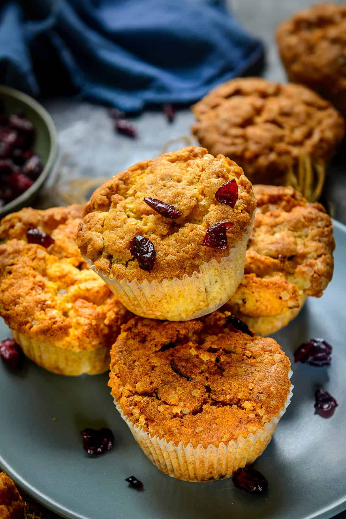 Cranberry Muffins served on a plate.