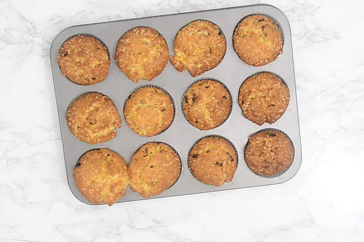 Ready cranberry orange muffins.