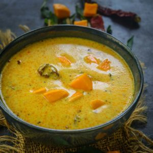 Fajeto, mango kadhi, or aam ki kadhi is a Gujarati dish made using yogurt, chickpea flour, and ripe mangoes. Pair this spicy, savory, tangy, and sweet dish with steamed rice for a hearty meal.