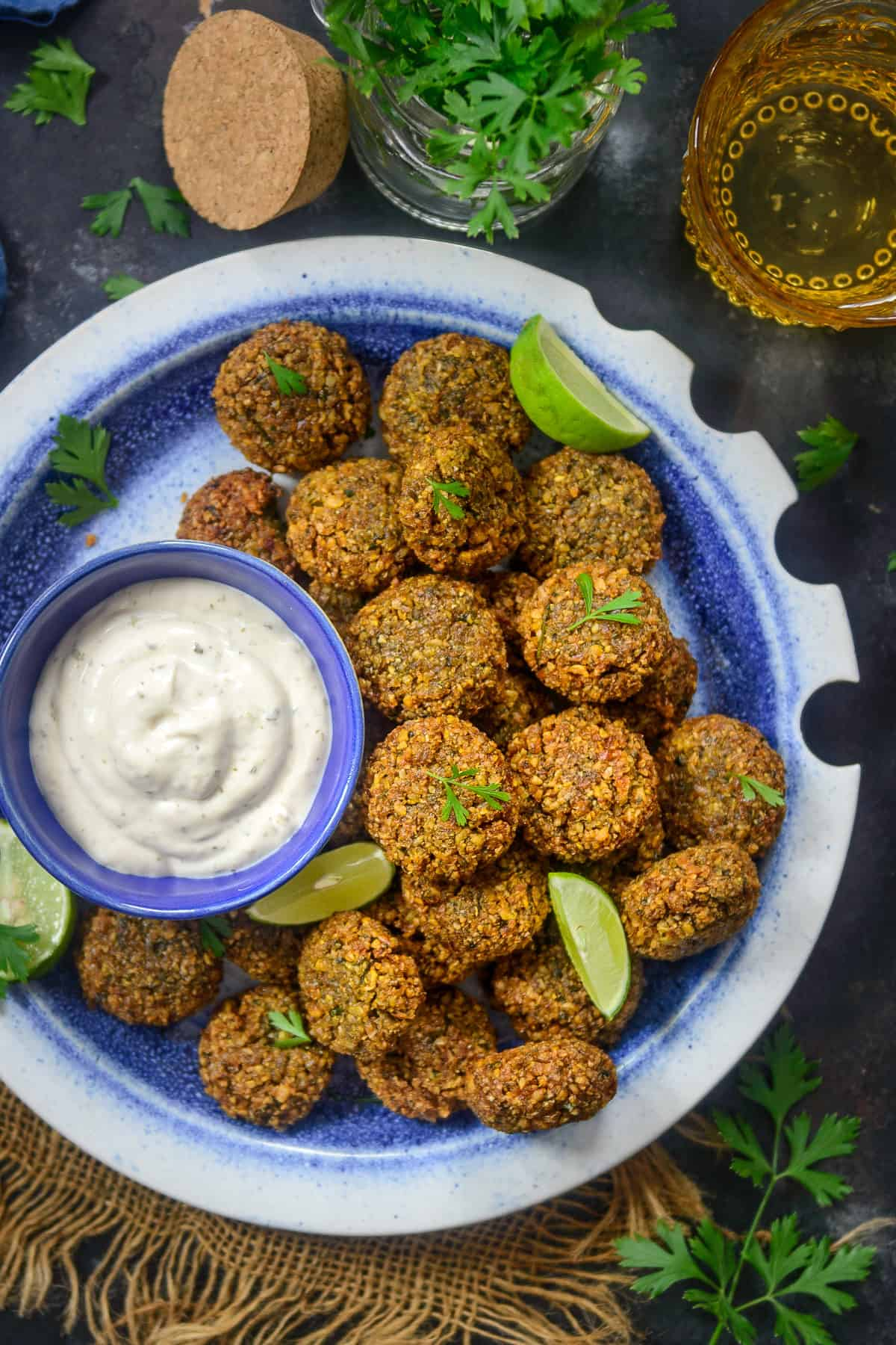 Falafel served on a plate.