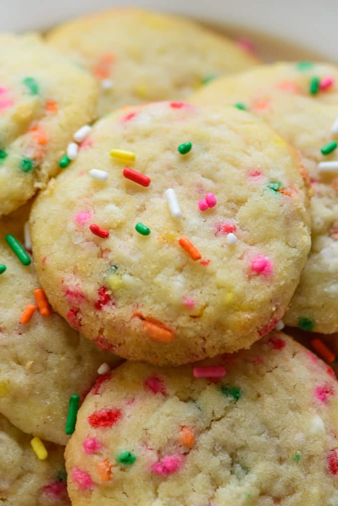 Close up shot of chewy funfetti cookies.