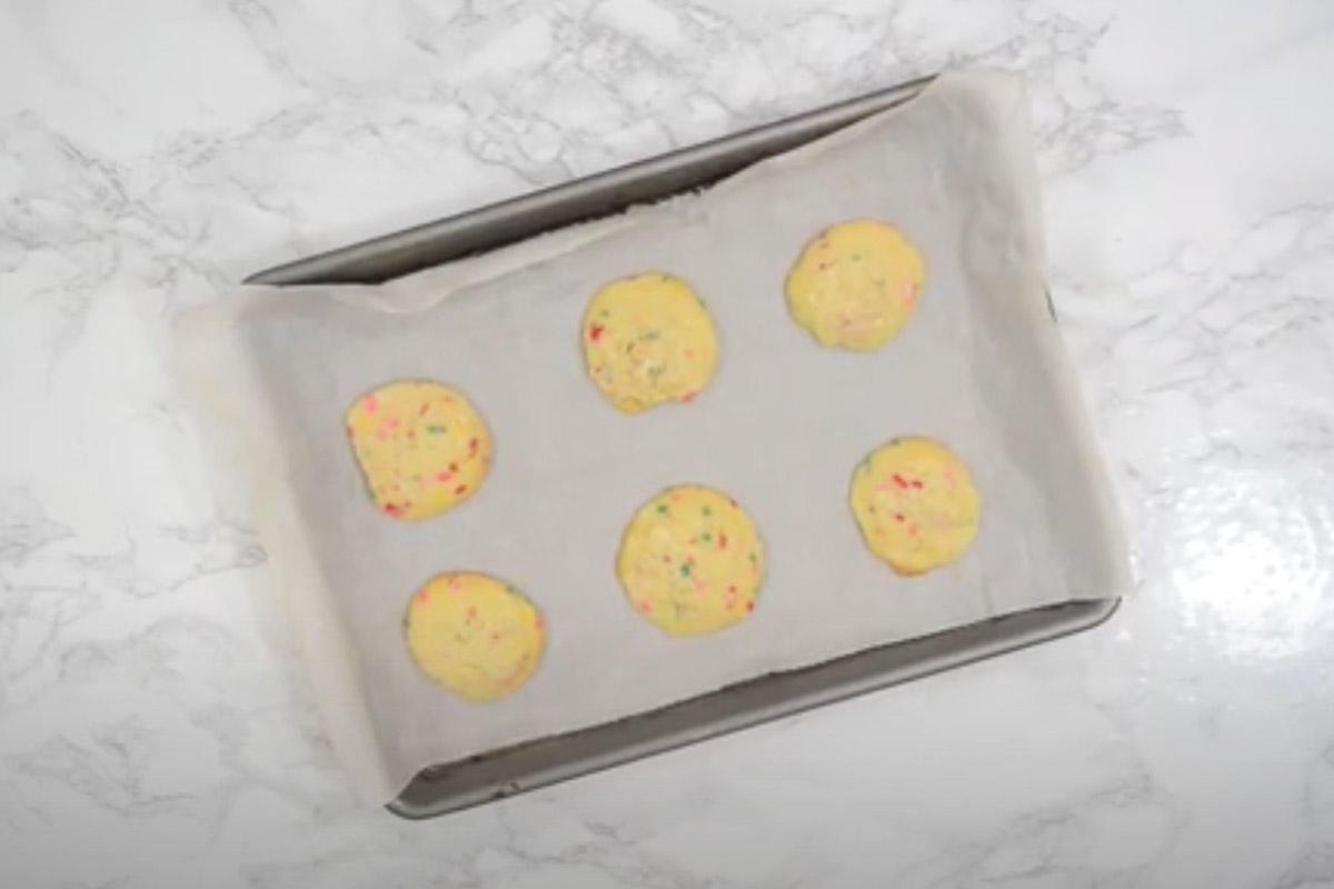 Tray lined with parchment paper.