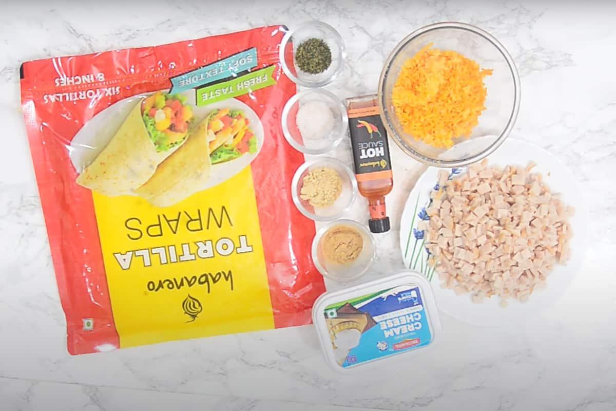 Ham and Cheese Pinwheels Ingredients.