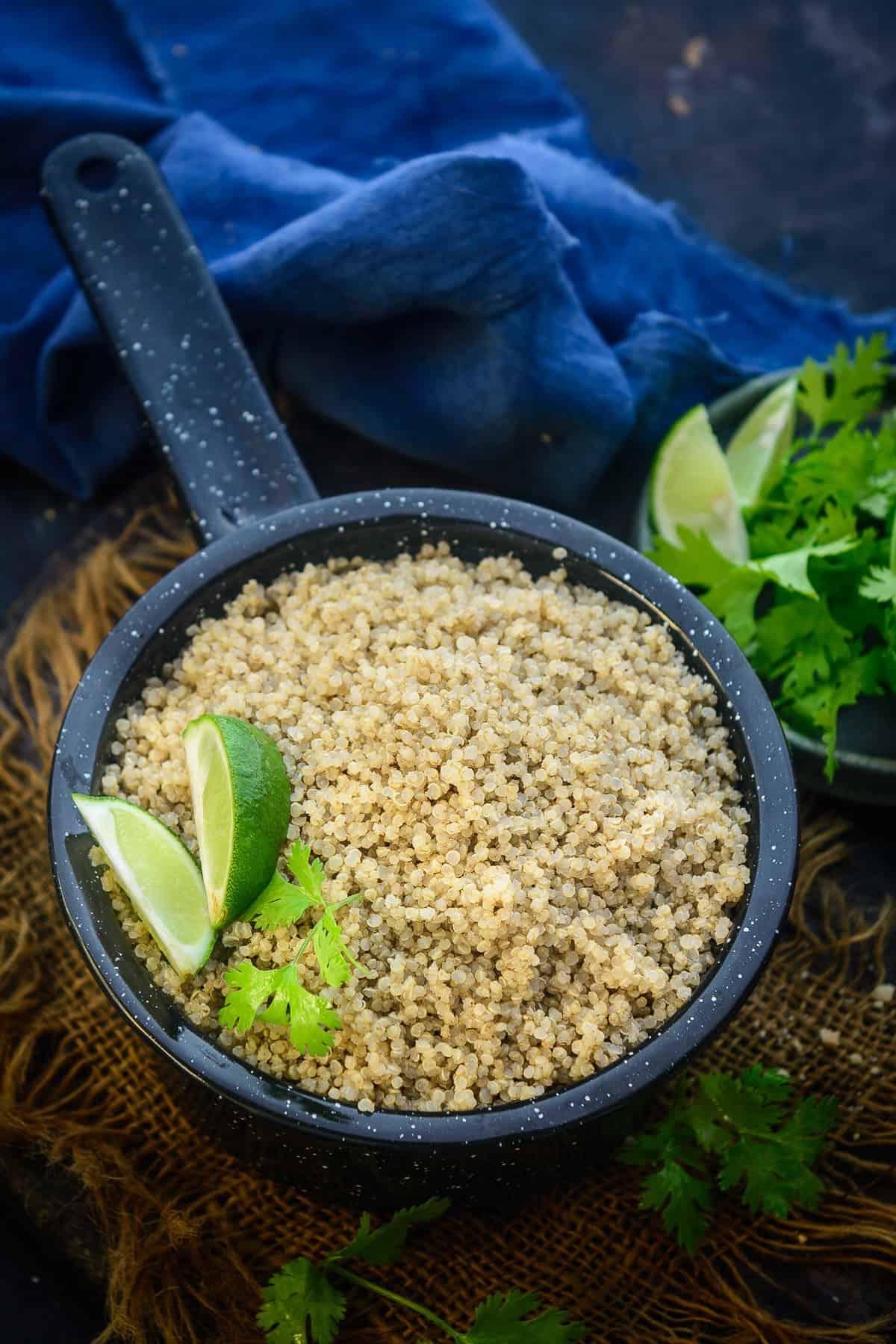 Instant Pot Quinoa served in a bowl.
