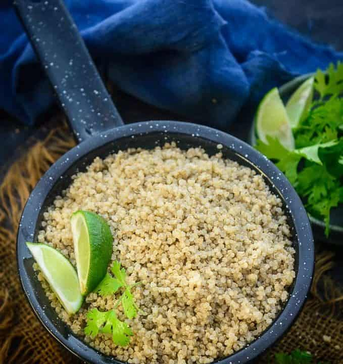 Instant Pot Quinoa served in a pan.
