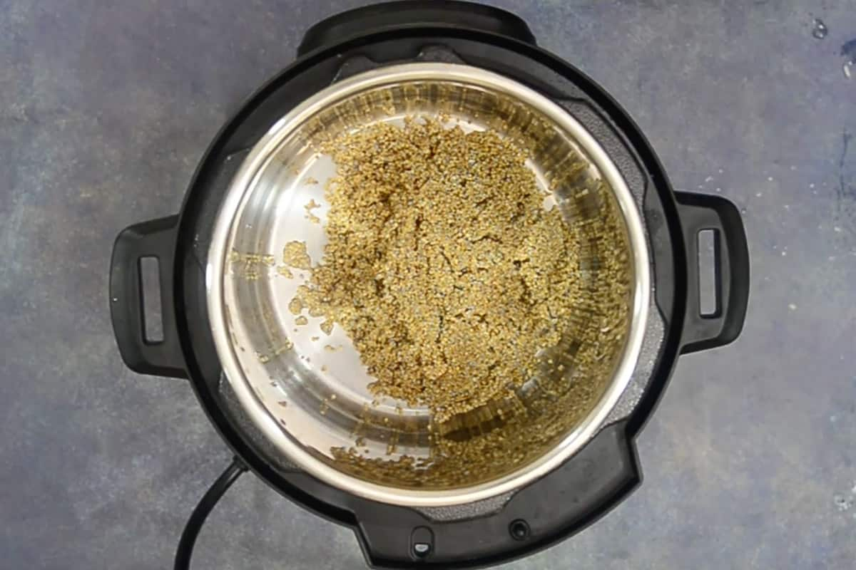 Quinoa added in Instant pot.