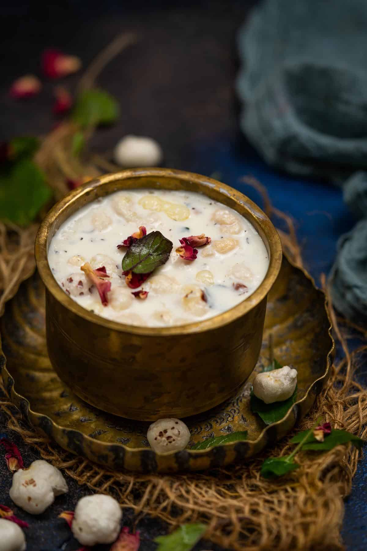 Panchamrut served in a bowl.