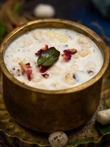 Panchamrut (Charnamrut) is a traditional ayurvedic concoction made for Hindu poojas and religious rituals. It is made using 5 ingredients (Paanch Amrut) and is considered holy and sacred. Here is how to make it.