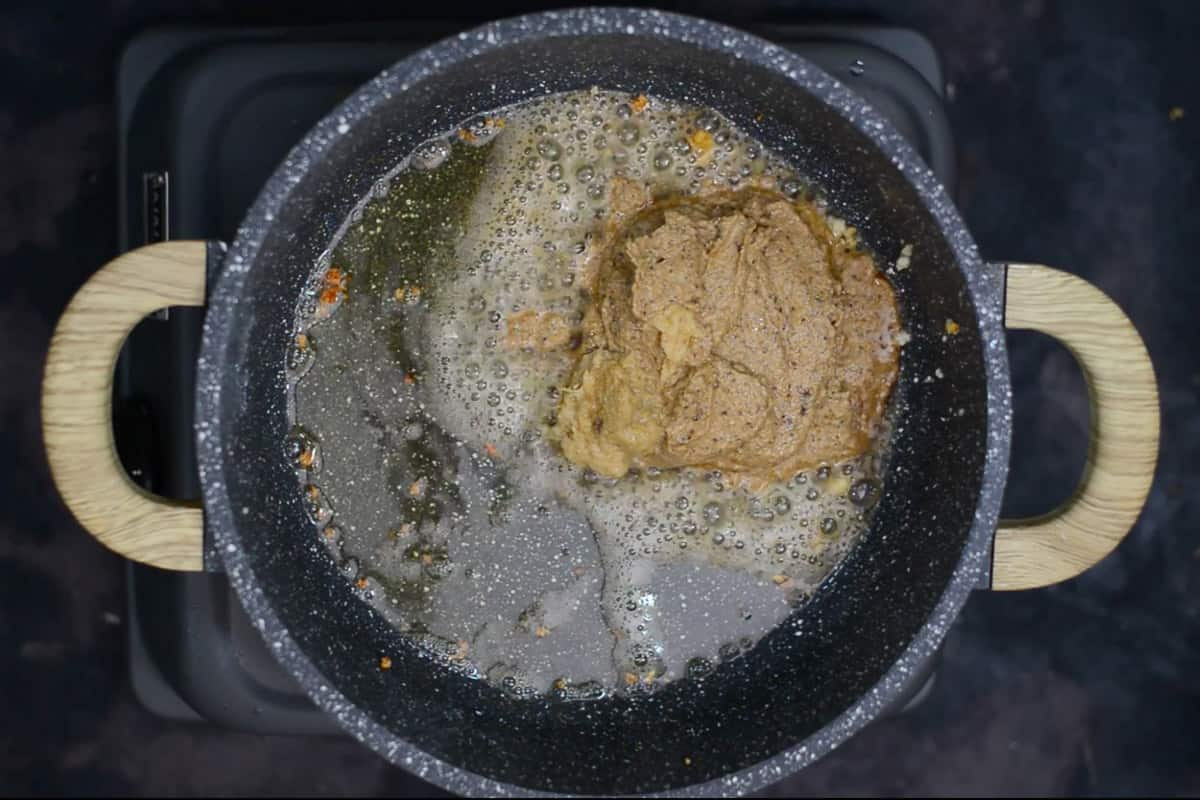 Masala paste and ginger garlic added in oil.