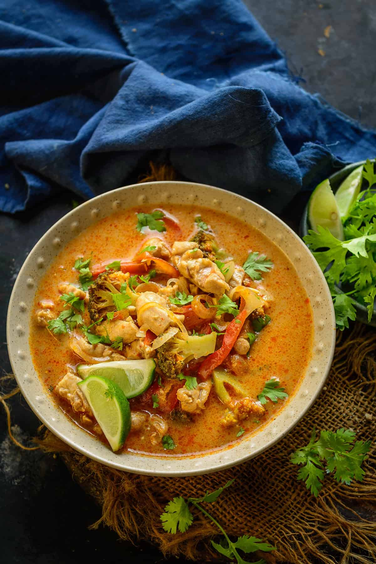 Thai Red Curry served in a bowl.