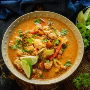 Thai Red Curry is a popular spicy curry from Thai cuisine. You can make it vegetarian, with chicken, shrimp or with fish. This recipe is very easy to make and is very close to the authentic red curry that you would get in Thailand.