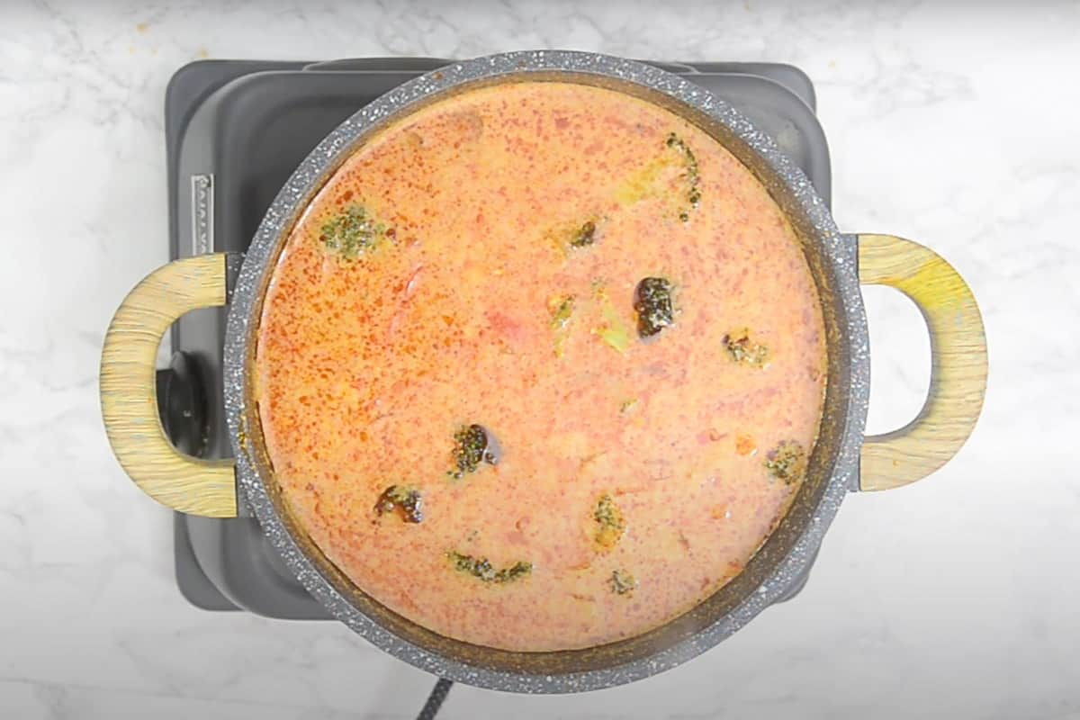 Thai red curry cooked and ready to be served