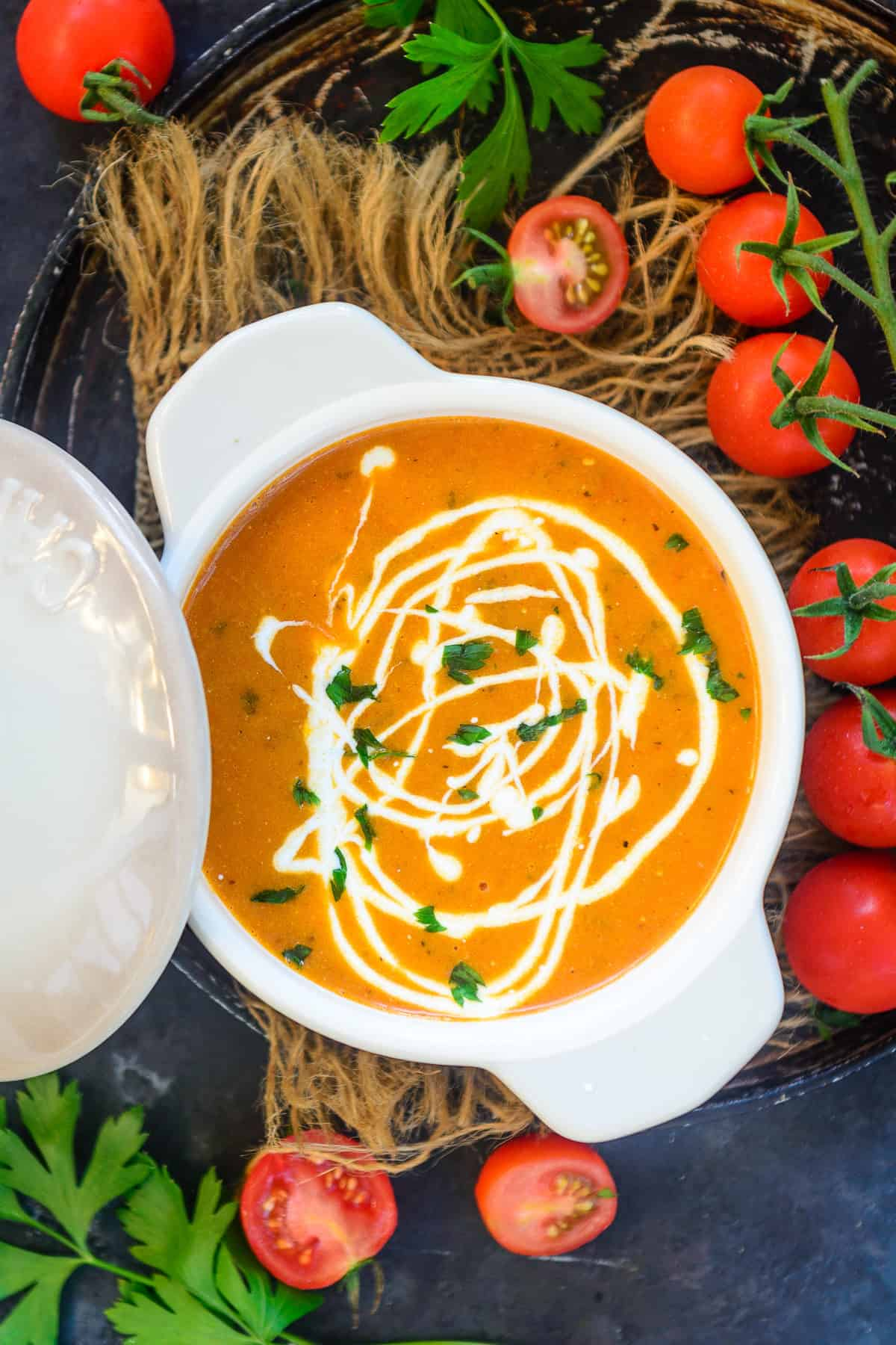 Tomato Bisque served in a bowl.