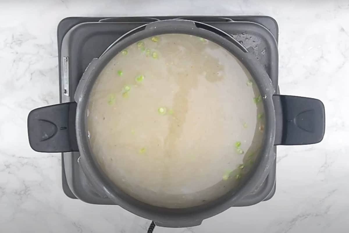 water added in the cooker.