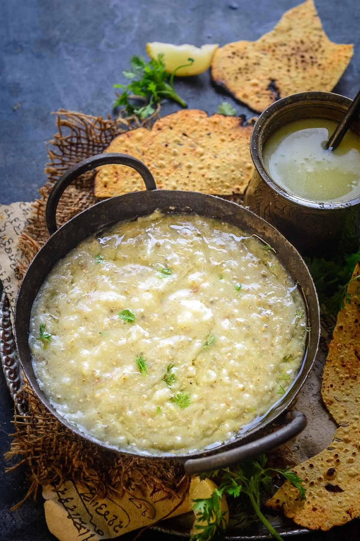 Bajre ki Khichdi served in a bowl.