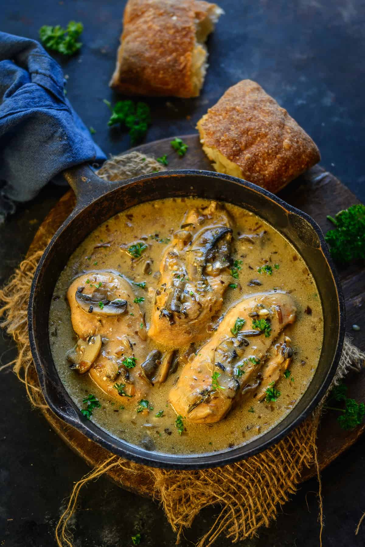 Chicken with Mushroom sauce served in a pan.