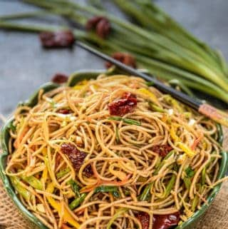 Chilli Garlic Noodles served in a bowl.