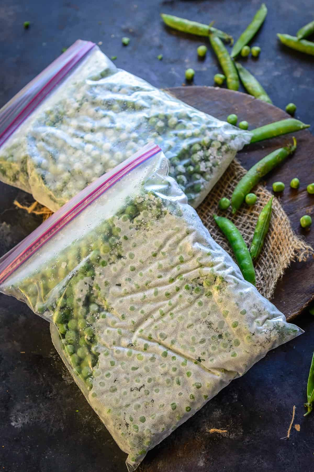 Frozen peas kept in a zip lock bag.