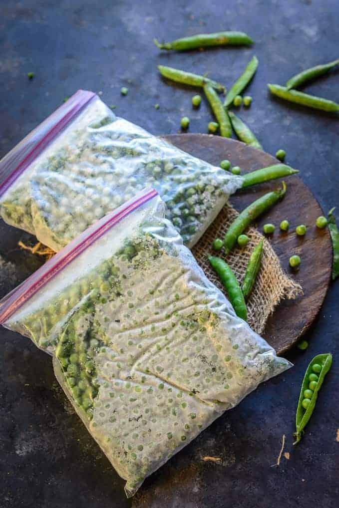 Frozen peas in a bag.