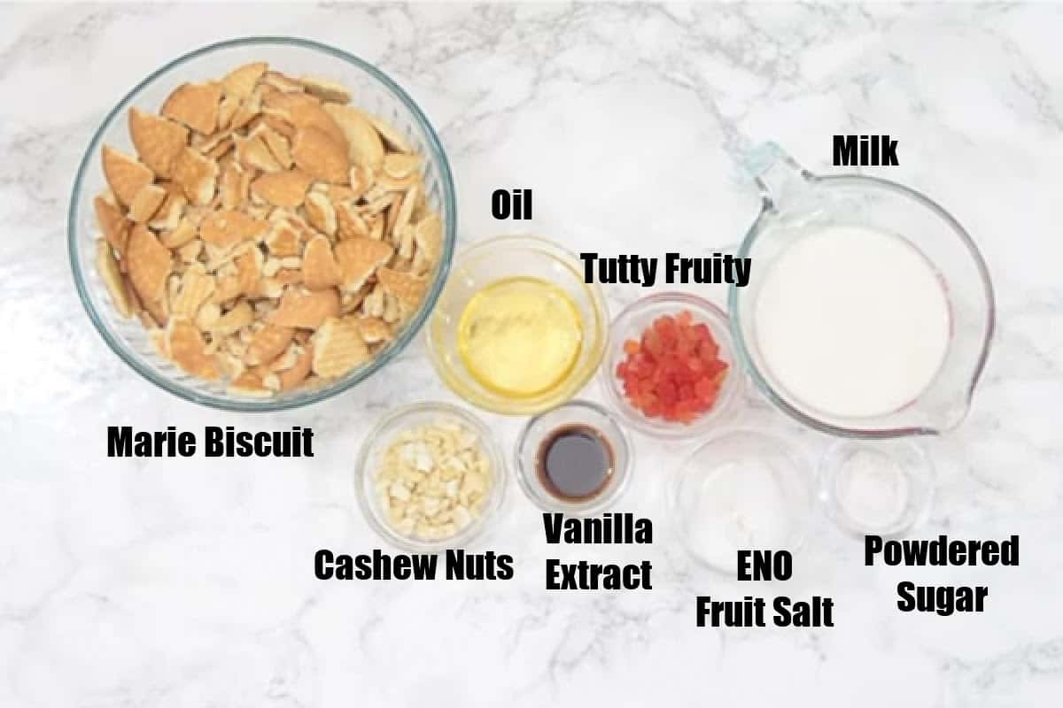 Marie Biscuit Cake Ingredients.