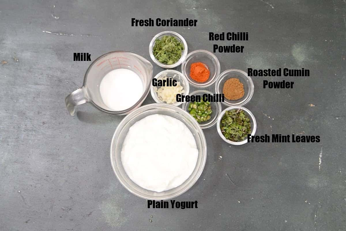 Burani Raita Ingredients.