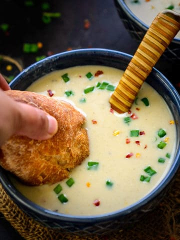 Instant Pot Cauliflower Soup is a healthy soup best for weight watchers. It is keto, low carb, gluten-free, and can be made dairy-free too. Here is how to make Cauliflower Soup in an Instant Pot Recipe.