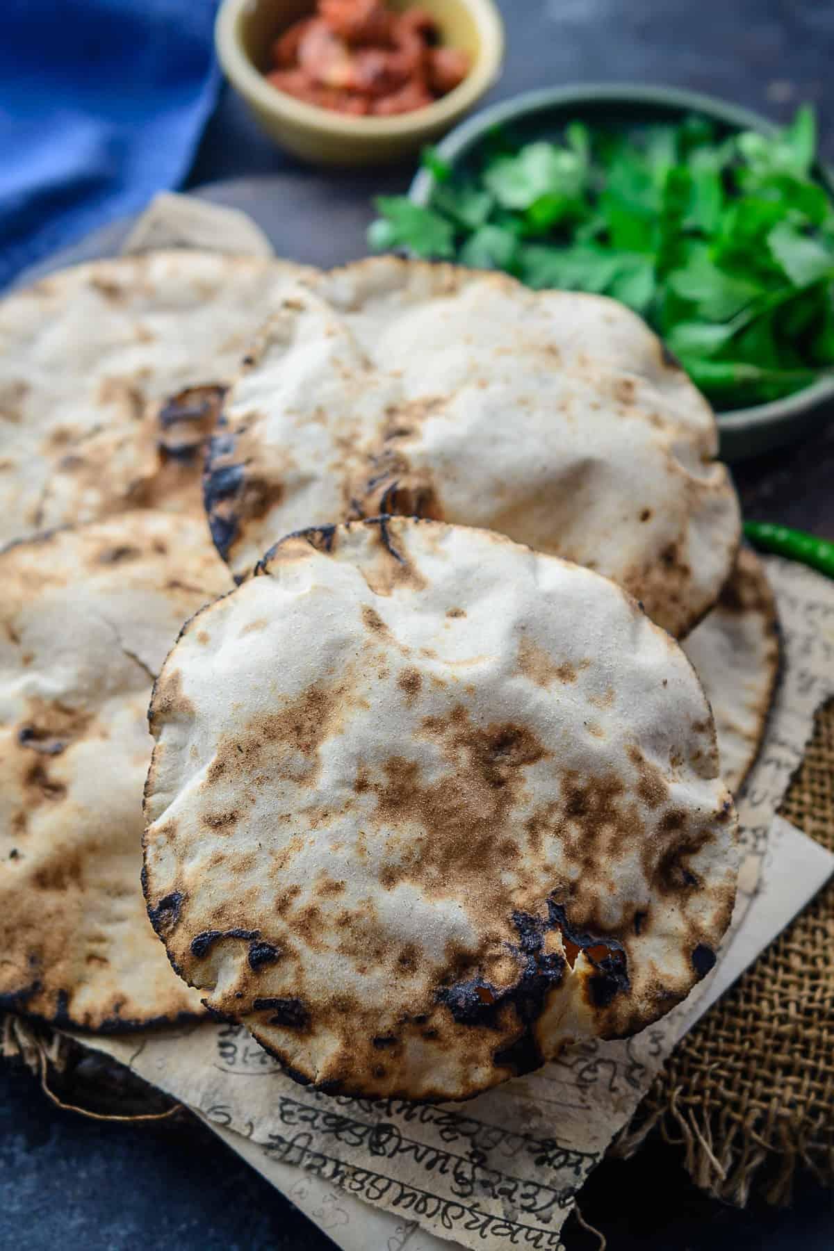 Khamiri Roti served on a plate.