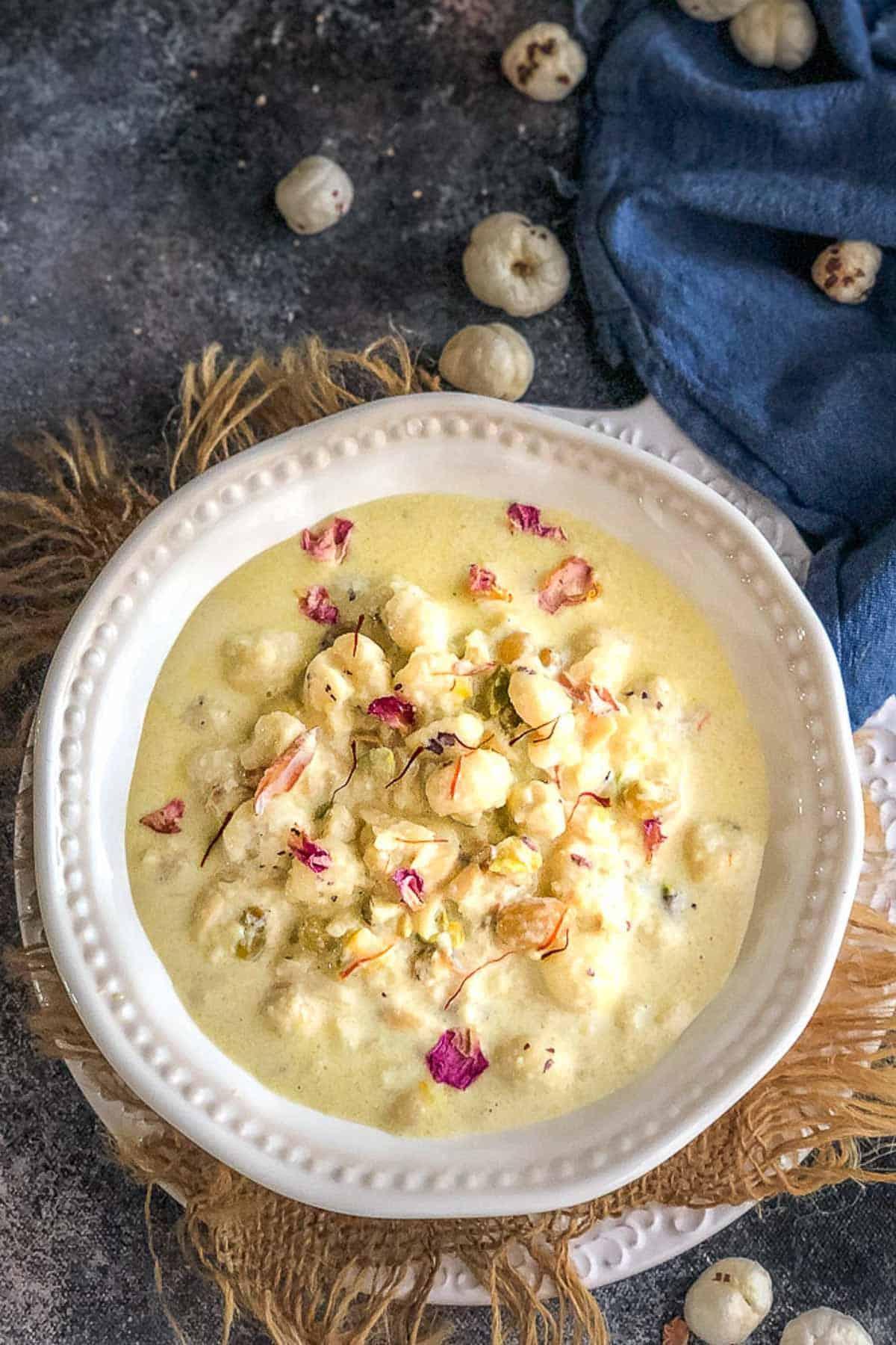 Makhane ki kheer served in a bowl.