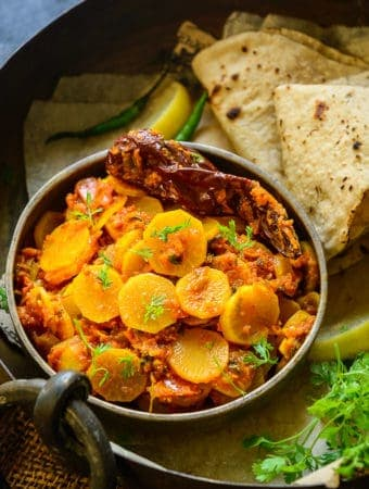 Mooli ki Sabji served in a bowl.