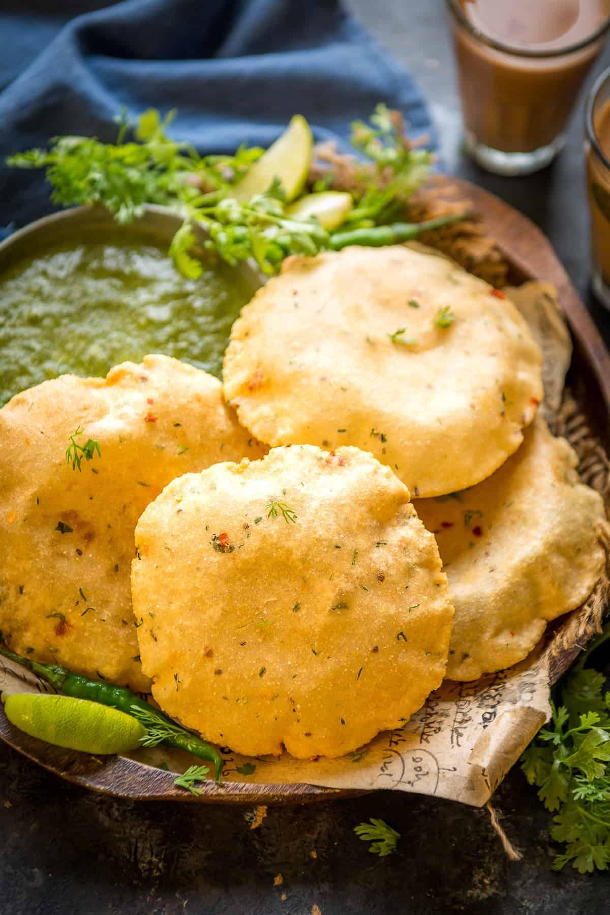 Aloo Puri served on a plate.