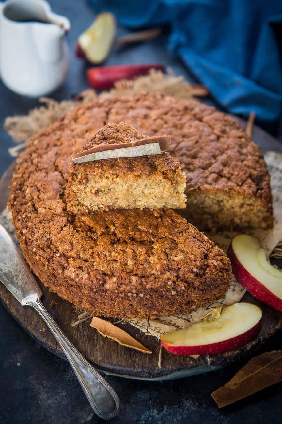 Apple Cinnamon cake served on a plate.