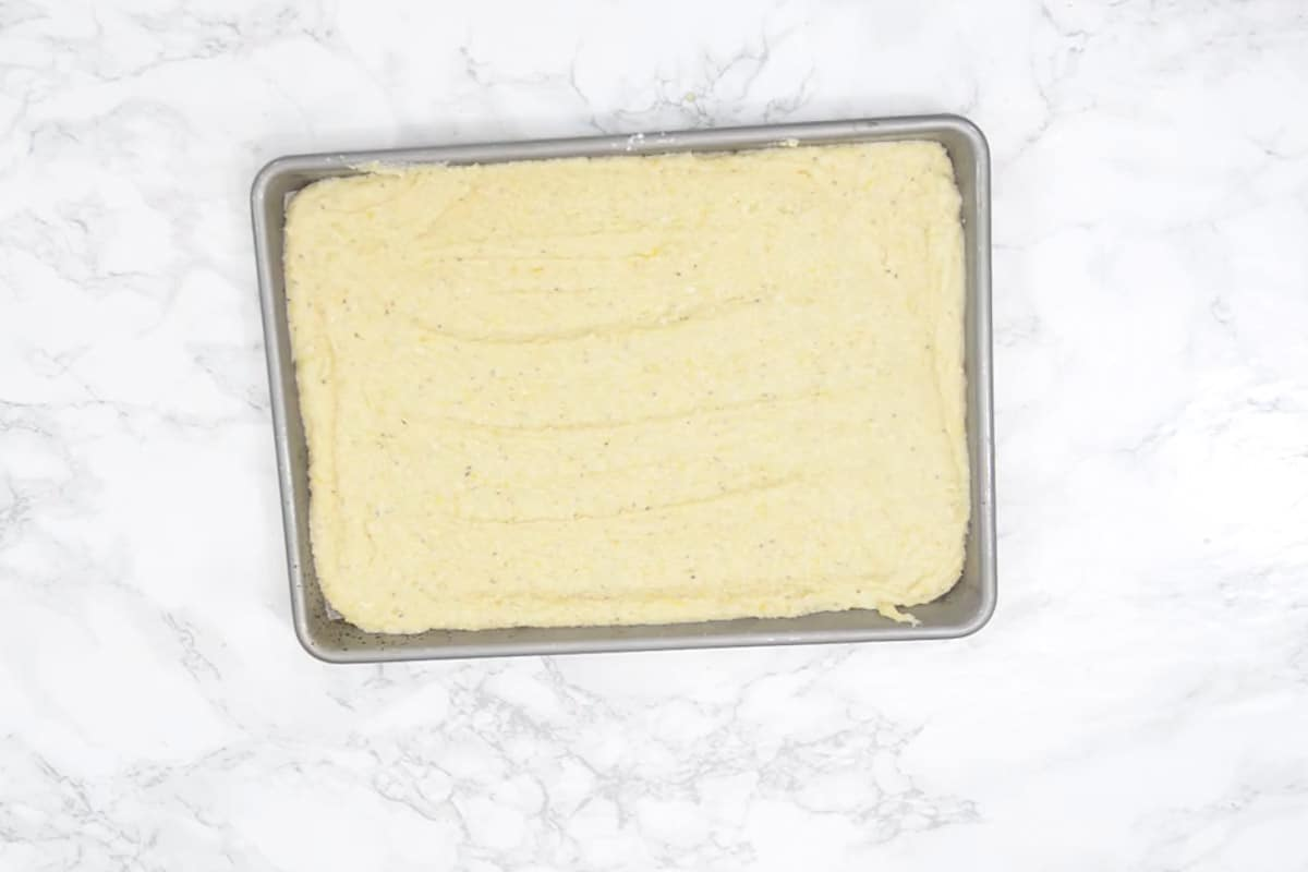 Batter poured in the tray.