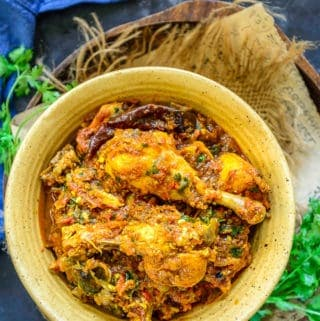 Chicken masala served in a bowl.